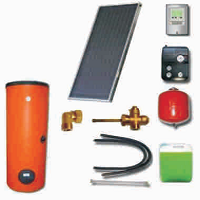 Solar sets with double harp collectors with cooper absorbers and solar heaters (200 26 200)