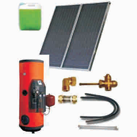 Solar sets of flat collectors with integrated solar tank (120 04 200)
