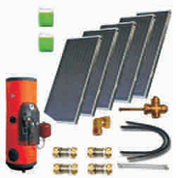 Solar sets of flat collectors with integrated solar tank (120 10 500)