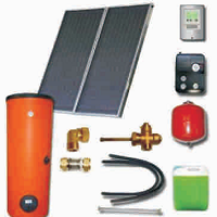 Solar sets with double harp collectors with cooper absorbers and solar heaters (100 04 200)