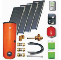 Solar sets with double harp collectors with cooper absorbers and solar heaters (100 08 400)