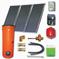 Solar sets with double harp collectors with cooper absorbers and solar heaters (100 06 300)