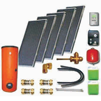 Solar sets with double harp collectors with cooper absorbers and solar heaters (100 10 500)