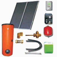 Solar sets with double harp collectors with cooper absorbers and solar heaters (200 53 300)